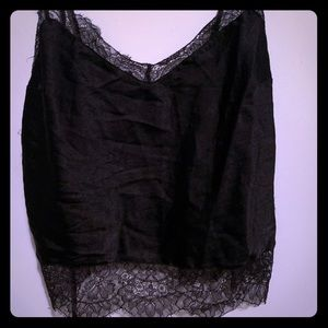 Cropped silk and lace cami
